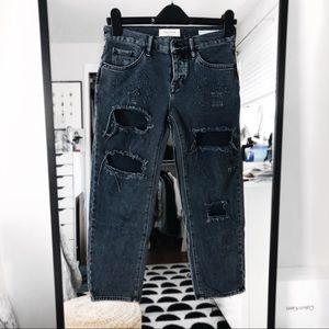 Pacsun distressed black grey boyfriend jeans